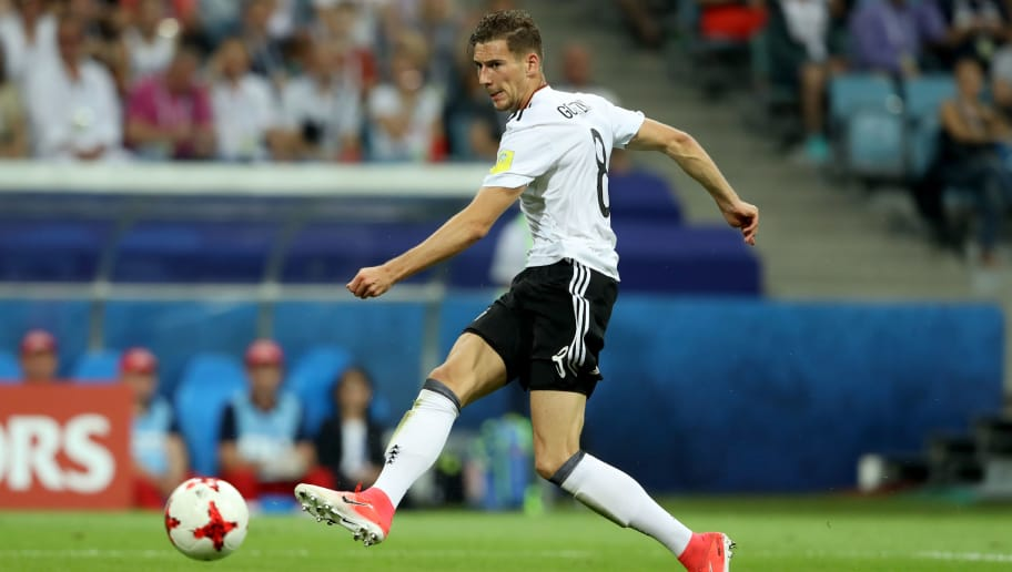SOCHI, RUSSIA - JUNE 29:  Leon Goretzka of Germany runs with the ball during the FIFA Confederations Cup Russia 2017 Semi-Final between Germany and Mexico at Fisht Olympic Stadium on June 29, 2017 in Sochi, Russia.  (Photo by Alexander Hassenstein/Bongarts/Getty Images)