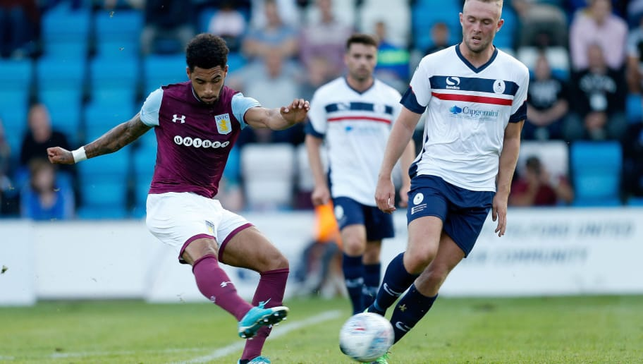 TELFORD, ENGLAND - JULY 12: Andre Green of Aston Villa scores the first goal of the game during the Pre-Season Friendly between AFC Telford United and Aston Villa at New Bucks Head Stadium on July 12, 2017 in Telford, England. (Photo by Malcolm Couzens/Getty Images)