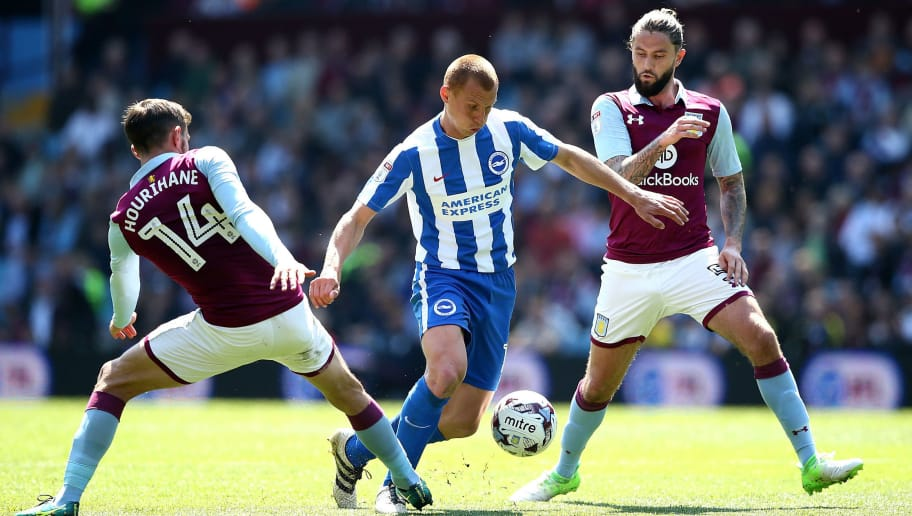 BIRMINGHAM, ENGLAND - MAY 07:  Steve Sidwell of Brighton and Hove Albion competes for the ball with Conor Hourihane(L) and Henri Lansbury of Aston Villa the Sky Bet Championship match between Aston Villa and Brighton & Hove Albion at Villa Park on May 7, 2017 in Birmingham, England.  (Photo by Jan Kruger/Getty Images)