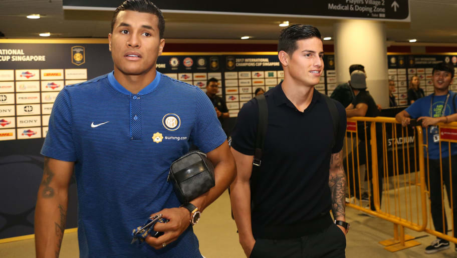 SINGAPORE, SINGAPORE - JULY 27: (L-R) Jeison Murillo of FC Internazionale and James Rodriguez of Bayern Munich after the International Champions Cup match between FC Bayern and FC Internazionale at National Stadium on July 27, 2017 in Singapore. (Photo by Lionel Ng/Getty Images  for ICC)