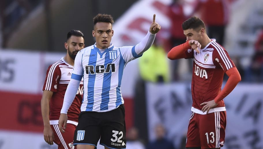 BUENOS AIRES, ARGENTINA - JUNE 18: Lautaro Martinez of Racing Club celebrates after scoring the first goal of his team during a match between River Plate and Racing Club as part of Torneo Primera Division 2016/17 at Monumental Stadium on June 18, 2017 in Buenos Aires, Argentina. (Photo by Marcelo Endelli/LatinContent/Getty Images)