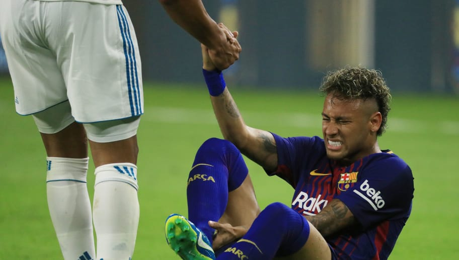 MIAMI GARDENS, FL - JULY 29:  Neymar #11 of Barcelona reacts during their International Champions Cup 2017 match against Real Madrid at Hard Rock Stadium on July 29, 2017 in Miami Gardens, Florida.  (Photo by Mike Ehrmann/Getty Images)
