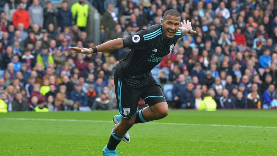 BURNLEY, ENGLAND - MAY 06: Jose Salomon Rondon of West Bromwich Albion celebrates scoring his sides first goal during the Premier League match between Burnley and West Bromwich Albion at Turf Moor on May 6, 2017 in Burnley, England.  (Photo by Mark Runnacles/Getty Images)