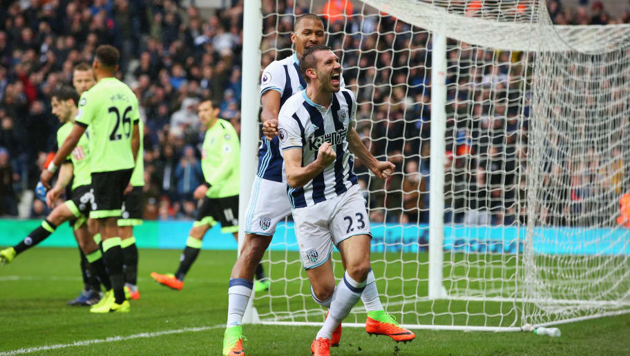 WEST BROMWICH, ENGLAND - FEBRUARY 25:  Gareth McAuley of West Bromwich Albion (R) celebrates scoring his sides second goal with Jose Salomon Rondon of West Bromwich Albion (L) during the Premier League match between West Bromwich Albion and AFC Bournemouth at The Hawthorns on February 25, 2017 in West Bromwich, England.  (Photo by Alex Livesey/Getty Images)