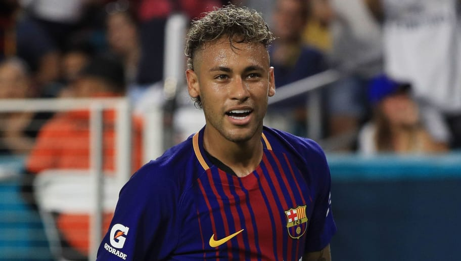 MIAMI GARDENS, FL - JULY 29:  Neymar #11 of Barcelona reacts in the second half against Real Madrid during their International Champions Cup 2017 match at Hard Rock Stadium on July 29, 2017 in Miami Gardens, Florida.  (Photo by Mike Ehrmann/Getty Images)