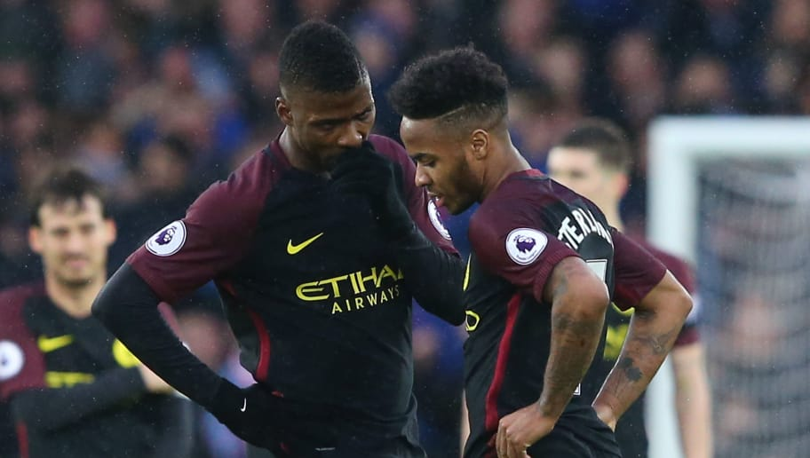 LIVERPOOL, ENGLAND - JANUARY 15:  (L-R) Dejected Manchester City teammates Kelechi Iheanacho and Raheem Sterling of Manchester City react following their team's 4-0 defeat  look on during the Premier League match between Everton and Manchester City at Goodison Park on January 15, 2017 in Liverpool, England.  (Photo by Alex Livesey/Getty Images)