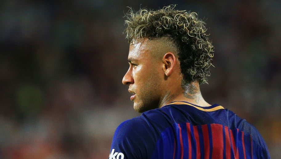 MIAMI GARDENS, FL - JULY 29:  Neymar #11 of Barcelona reacts in the first half against Real Madrid during their International Champions Cup 2017 match at Hard Rock Stadium on July 29, 2017 in Miami Gardens, Florida.  (Photo by Chris Trotman/Getty Images)