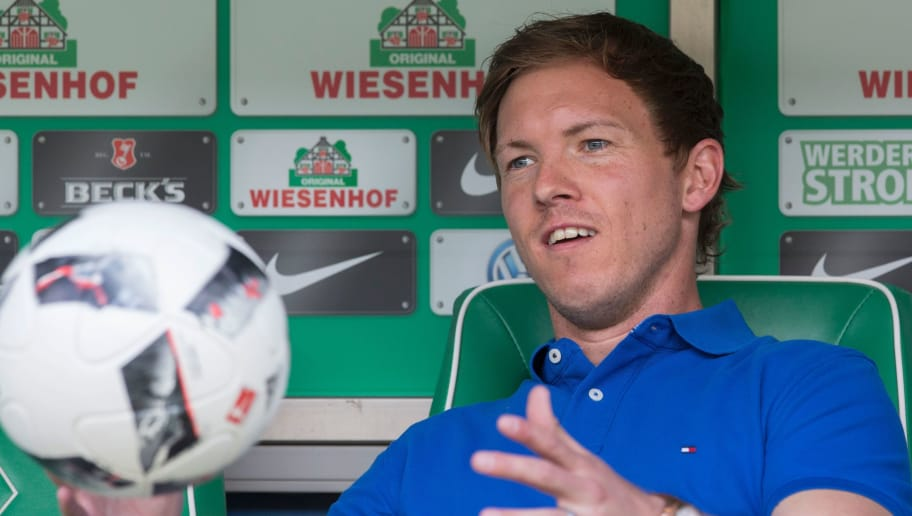 Hoffenheim's head coach Julian Nagelsmann reacts prior to the German first division Bundesliga football match between Werder Bremen and TSG Hoffenheim on May 13, 2017 in Bremen, northern Germany.  / AFP PHOTO / JOERG SARBACH / RESTRICTIONS: DURING MATCH TIME: DFL RULES TO LIMIT THE ONLINE USAGE TO 15 PICTURES PER MATCH AND FORBID IMAGE SEQUENCES TO SIMULATE VIDEO. == RESTRICTED TO EDITORIAL USE == FOR FURTHER QUERIES PLEASE CONTACT DFL DIRECTLY AT + 49 69 650050         (Photo credit should read JOERG SARBACH/AFP/Getty Images)
