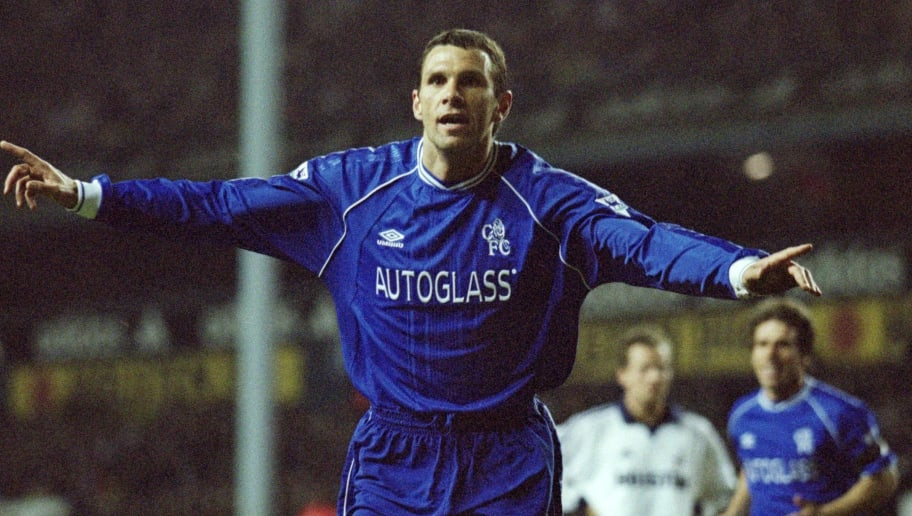 97137e366d2 17 Apr 2001  Gustavo Poyet of Chelsea celebrates during the FA Carling  Premiership match against