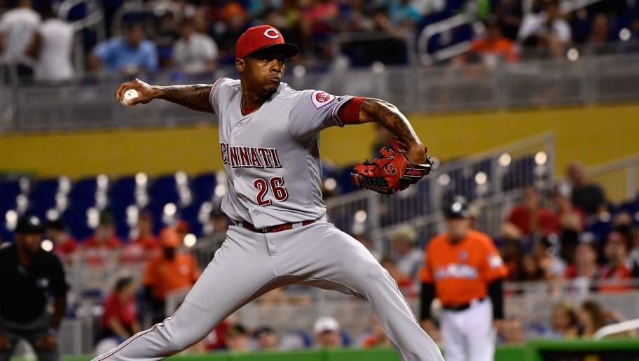 MIAMI, FL - JULY 30:  Raisel Iglesias #26 of the Cincinnati Reds pitches in the ninth inning during the game between the Miami Marlins and the Cincinnati Reds at Marlins Park on July 30, 2017 in Miami, Florida. (Photo by Mark Brown/Getty Images)