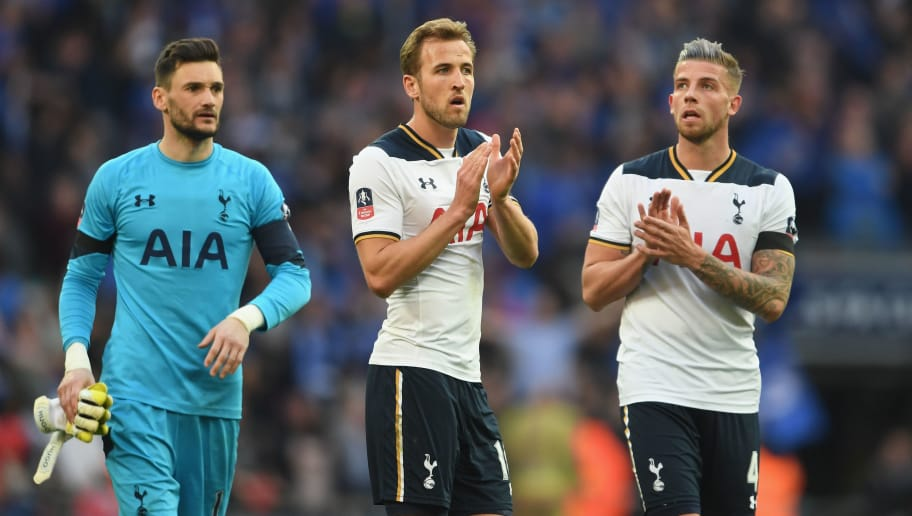 LONDON, ENGLAND - APRIL 22:  Harry Kane of Tottenham Hotspur and Toby Alderweireld of Tottenham Hotspur applaud supporters during The Emirates FA Cup Semi-Final between Chelsea and Tottenham Hotspur at Wembley Stadium on April 22, 2017 in London, England.  (Photo by Laurence Griffiths/Getty Images)