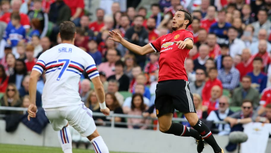 Manchester United's Italian defender Matteo Darmian (R) vies with Sampdoria's Jacopo Sala during the pre-season friendly game between Manchester United and Sampdoria at the Aviva stadium in Dublin on August 2, 2017. / AFP PHOTO / Paul FAITH        (Photo credit should read PAUL FAITH/AFP/Getty Images)