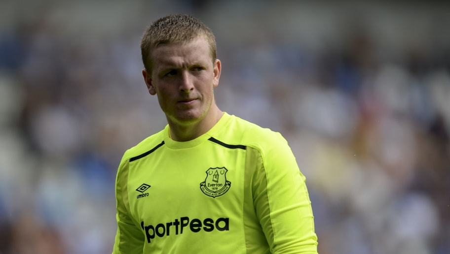 GENK, BELGIUM - JULY 22: Jordan Pickford from Everton during the Pre-Season Friendly between KRC Genk and Everton at Cristal Arena on July 22, 2017 in Genk, Belgium (Photo by Andy Astfalck/Getty Images)