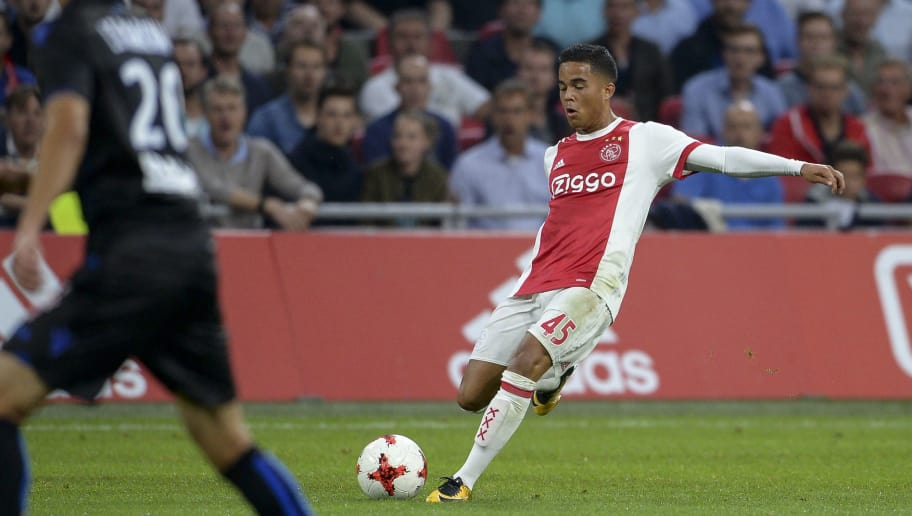 AMSTERDAM, NETHERLANDS - AUGUST 2:  Justin Kluivert from AJAX during the UEFA Champions League Qualifying Third Round: Second Leg match between AJAX Amsterdam and OSC Nice at Amsterdam Arena, on August 2, 2017 in Amsterdam, Netherlands. (Photo by Andy Astfalck/Getty Images)