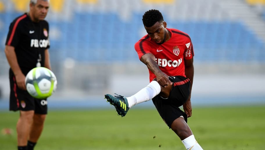 Monaco's French midfielder Thomas Lemar kicks the ball during a training session at the Grand Stade in Tangiers on July 28, 2017 on the eve of the French Trophy of Champions (Trophee des Champions) football match between Paris Saint-Germain and Monaco. / AFP PHOTO / FRANCK FIFE        (Photo credit should read FRANCK FIFE/AFP/Getty Images)