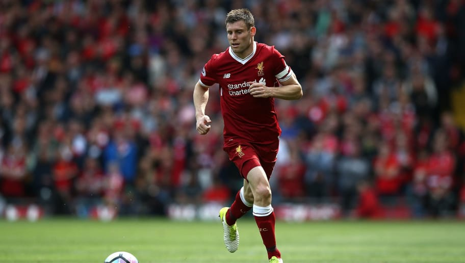 LIVERPOOL, ENGLAND - MAY 21:  James Milner of Liverpool during the Premier League match between Liverpool and Middlesbrough at Anfield on May 21, 2017 in Liverpool, England.  (Photo by Jan Kruger/Getty Images)