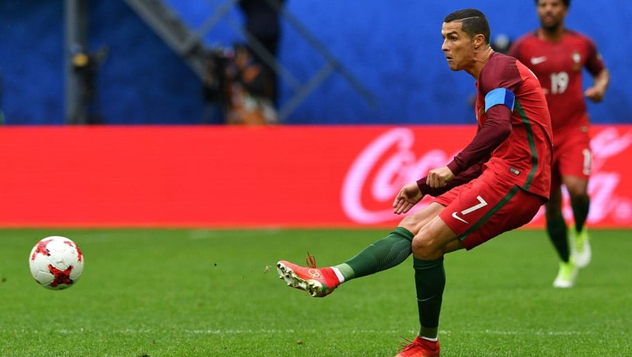 Portugal's forward Cristiano Ronaldo kicks the ball during the 2017 Confederations Cup group A football match between New Zealand and Portugal at the Saint Petersburg Stadium in Saint Petersburg on June 24, 2017. / AFP PHOTO / Mladen ANTONOV        (Photo credit should read MLADEN ANTONOV/AFP/Getty Images)