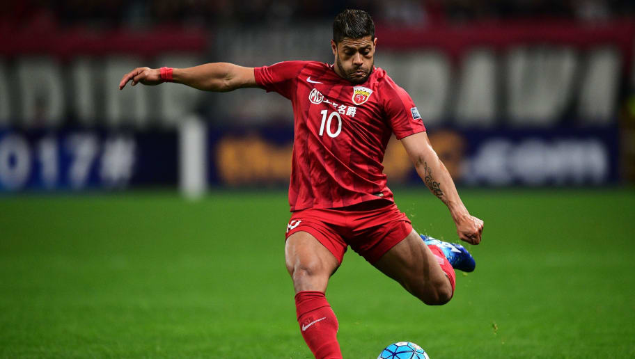 Shanghai SIPG Brazilian forward Hulk kicks the ball during the AFC Asian Champions League group football match between Shanghai SIPG and Urawa Red Diamonds in Shanghai on March 15, 2017. / AFP PHOTO / Johannes EISELE        (Photo credit should read JOHANNES EISELE/AFP/Getty Images)
