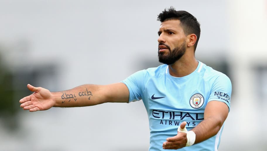 REYKJAVIK, ICELAND - AUGUST 04:  Sergio Aguero of Manchester City reacts during a Pre Season Friendly between Manchester City and West Ham United at the Laugardalsvollur stadium on August 4, 2017 in Reykjavik, Iceland.  (Photo by Ian Walton/Getty Images)