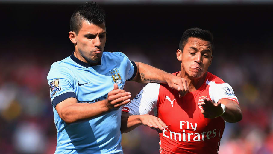 LONDON, ENGLAND - SEPTEMBER 13:  Sergio Aguero of Manchester City and Alexis Sanchez of Arsenal battle for the ball during the Barclays Premier League match between Arsenal and Manchester City at Emirates Stadium on September 13, 2014 in London, England.  (Photo by Shaun Botterill/Getty Images)