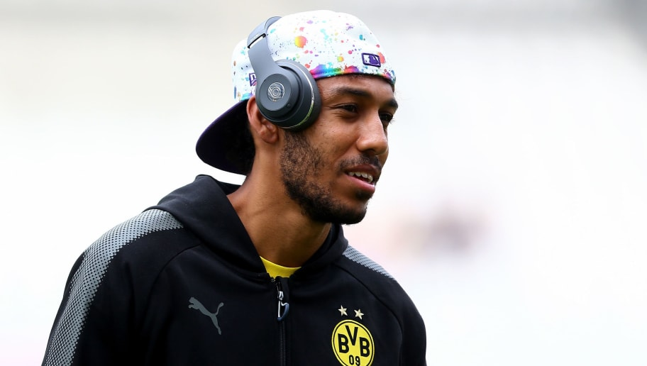 ESSEN, GERMANY - JULY 11: Pierre-Emerick Aubameyang of Dortmund looks on prior to the preseason friendly match between Rot-Weiss Essen and Borussia Dortmund at Stadion Essen on July 11, 2017 in Essen, Germany.  (Photo by Christof Koepsel/Bongarts/Getty Images)