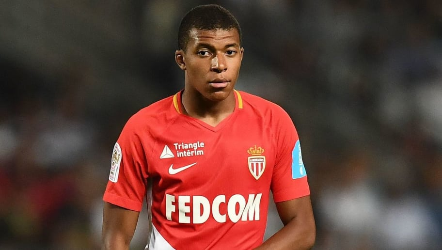 Monaco's French forward Kylian Mbappe reacts during the French Trophy of Champions (Trophee des Champions) football match between Monaco (ASM) and Paris Saint-Germain (PSG) on July 29, 2017, at the Grand Stade in Tangiers. / AFP PHOTO / FRANCK FIFE        (Photo credit should read FRANCK FIFE/AFP/Getty Images)