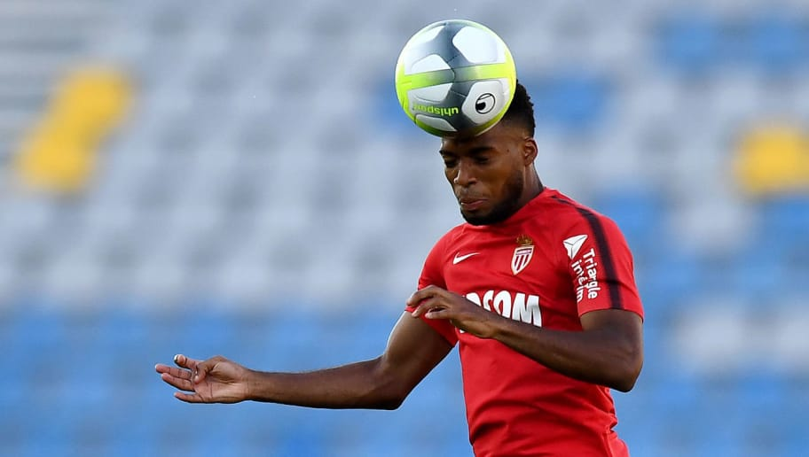Monaco's French midfielder Thomas Lemar heads the ball during a training session at the Grand Stade in Tangiers on July 28, 2017 on the eve of the French Trophy of Champions (Trophee des Champions) football match between Paris Saint-Germain and Monaco. / AFP PHOTO / FRANCK FIFE        (Photo credit should read FRANCK FIFE/AFP/Getty Images)