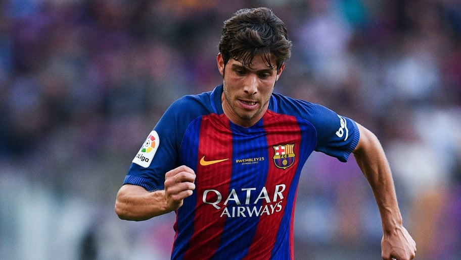 BARCELONA, SPAIN - MAY 21:  Sergi Roberto of FC Barcelona runs with the ball during the La Liga match between Barcelona and Eibar at Camp Nou on 21 May, 2017 in Barcelona, Spain.  (Photo by David Ramos/Getty Images)