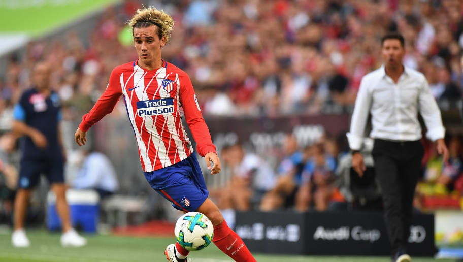 MUNICH, GERMANY - AUGUST 01: Antoine Griezmann of Atletico Madrid in action  during the Audi Cup 2017 match between Club Atletico de Madrid and SSC Napoli at Allianz Arena on August 1, 2017 in Munich, Germany.  (Photo by Sebastian Widmann/Bongarts/Getty Images for Audi)