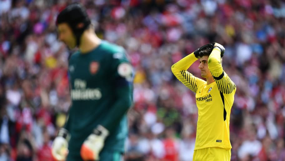LONDON, ENGLAND - AUGUST 06:  Thibaut Courtois of Chelsea reacts after missing a penalty during the The FA Community Shield final between Chelsea and Arsenal at Wembley Stadium on August 6, 2017 in London, England.  (Photo by Dan Mullan/Getty Images)