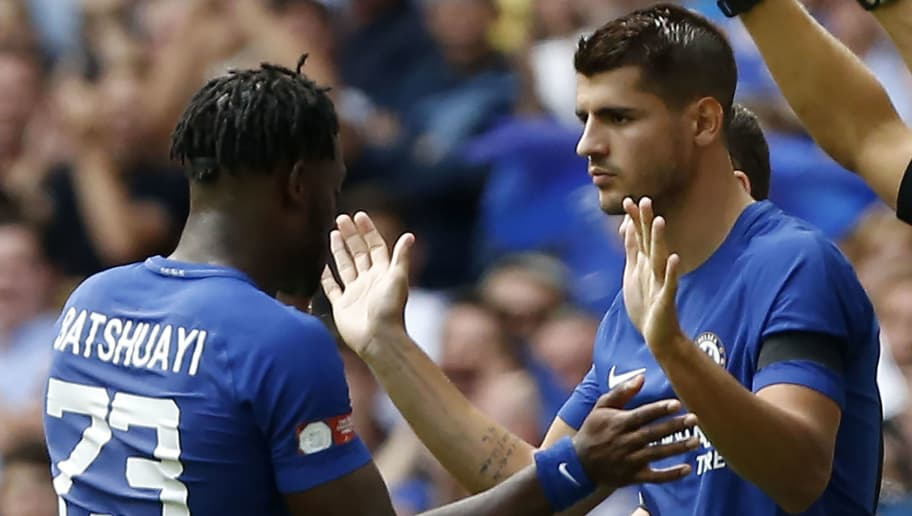 Chelsea's Alvaro Morata (R) comes on as substitute for Chelsea's Belgian striker Michy Batshuayi during the English FA Community Shield football match between Arsenal and Chelsea at Wembley Stadium in north London on August 6, 2017. / AFP PHOTO / Ian KINGTON / NOT FOR MARKETING OR ADVERTISING USE / RESTRICTED TO EDITORIAL USE        (Photo credit should read IAN KINGTON/AFP/Getty Images)