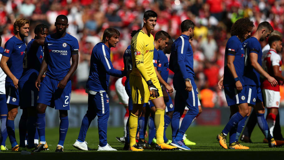 LONDON, ENGLAND - AUGUST 06:  Thibaut Courtois of Chelsea looks dejected following the The FA Community Shield final between Chelsea and Arsenal at Wembley Stadium on August 6, 2017 in London, England.  (Photo by Dan Istitene/Getty Images)