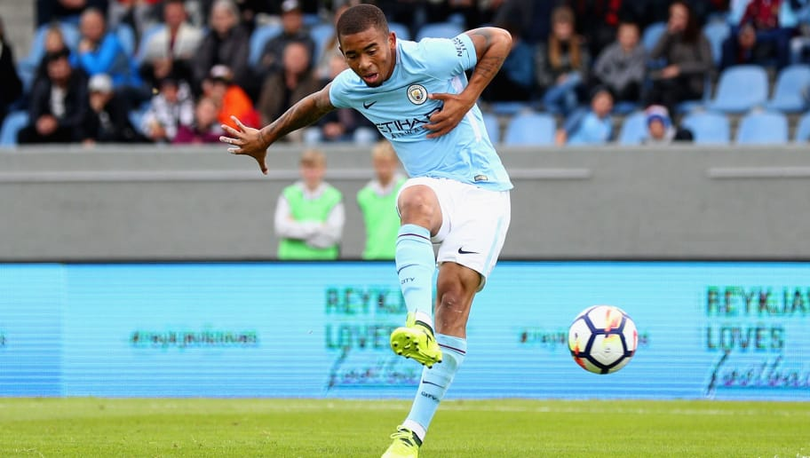 REYKJAVIK, ICELAND - AUGUST 04:  Gabriel Jesus of Manchester City scores his sides first goal during a Pre Season Friendly between Manchester City and West Ham United at the Laugardalsvollur stadium on August 4, 2017 in Reykjavik, Iceland.  (Photo by Ian Walton/Getty Images)