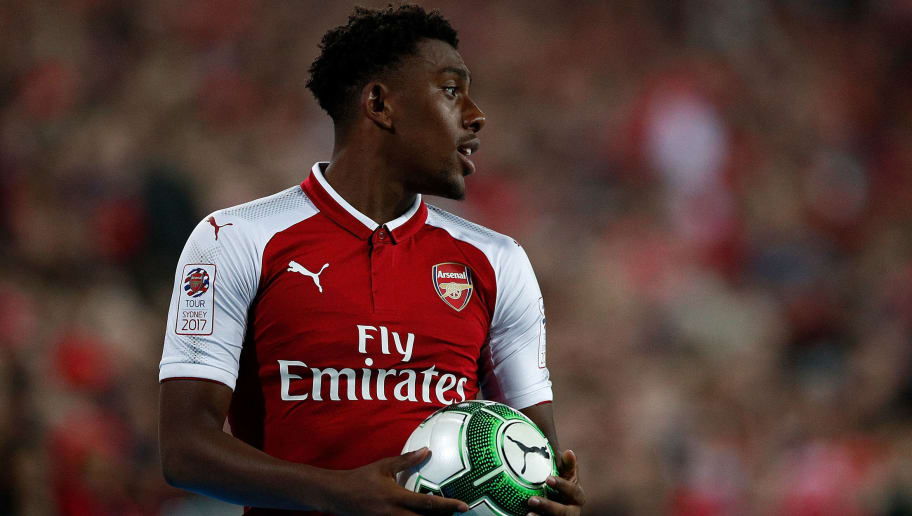 SYDNEY, AUSTRALIA - JULY 15: Alex Iwobi of Arsenal looks to take a throw-in during the match between the Western Sydney Wanderers and Arsenal FC at ANZ Stadium on July 15, 2017 in Sydney, Australia.  (Photo by Zak Kaczmarek/Getty Images)