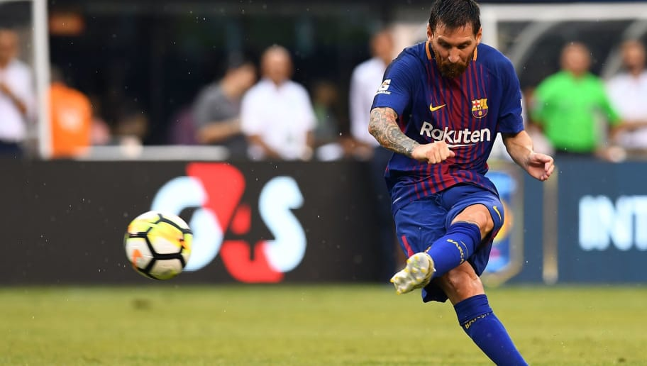 Barcelona's Argentinian forward Lionel Messi kicks the ball during the International Champions Cup (ICC) match between Juventus FC and FC Barcelona, at the MetLife Stadium in East Rutherford, New Jersey, on July 22, 2017.  FC Barcelona defeated Juventus 2-1.  / AFP PHOTO / Jewel SAMAD        (Photo credit should read JEWEL SAMAD/AFP/Getty Images)