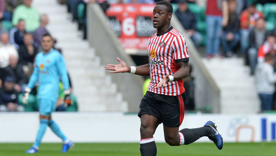 EDINBURGH, SCOTLAND - JULY 09: Lamine Kone of Sunderland in action during the pre season friendly between Hibernian and Sunderland at Easter Road on July 9, 2017 in Edinburgh, Scotland. (Photo by Mark Runnacles/Getty Images)
