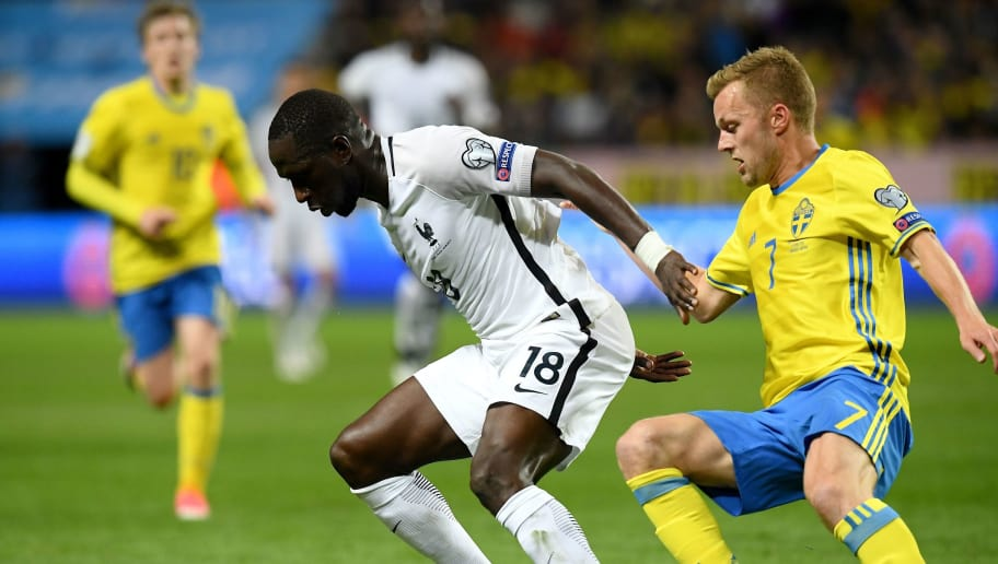 France's midfielder Moussa Sissoko (C) controls the ball next to Sweden's midfielder Sebastian Larsson during the FIFA World Cup 2018 qualifying football match Sweden vs France on June 9, 2017 at the Friends Arena in Solna. Sweden won 2-1.   / AFP PHOTO / FRANCK FIFE        (Photo credit should read FRANCK FIFE/AFP/Getty Images)