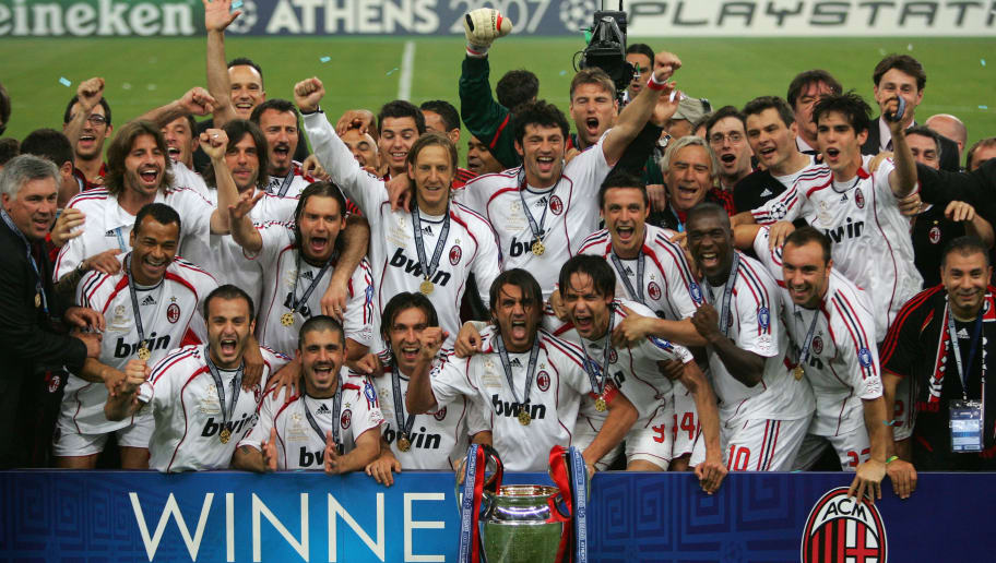 ATHENS, GREECE - MAY 23:  Milan players celebrate with the trophy following their 2-1 victory during the UEFA Champions League Final match between Liverpool and AC Milan at the Olympic Stadium on May 23, 2007 in Athens, Greece.  (Photo by Jamie McDonald/Getty Images)