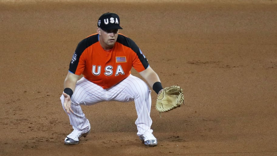 MIAMI, FL - JULY 09:  Rhys Hoskins #12 of the Philadelphia Phillies and the U.S. Team looks on in the first inning against the World Team during the SiriusXM All-Star Futures Game at Marlins Park on July 9, 2017 in Miami, Florida.  (Photo by Rob Carr/Getty Images)