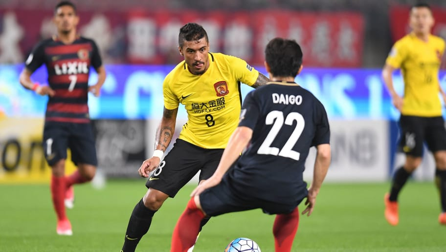 KASHIMA, JAPAN - MAY 30:  Paulinho of Guangzhou Evergrande in action during the AFC Champions League Round of 16 match between Kashima Antlers and Guangzhou Evergrande FC at Kashima Stadium on May 30, 2017 in Kashima, Japan.  (Photo by Atsushi Tomura/Getty Images)