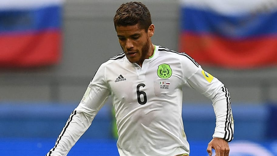 Mexico's midfielder Jonathan Dos Santos controls the ball during the 2017 Confederations Cup group A football match between Mexico and Russia at the Kazan Arena in Kazan on June 24, 2017.   / AFP PHOTO / FRANCK FIFE        (Photo credit should read FRANCK FIFE/AFP/Getty Images)