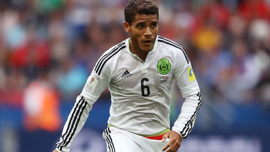 KAZAN, RUSSIA - JUNE 24: Jonathan Dos Santos of Mexico in action during the FIFA Confederations Cup Russia 2017 Group A match between Mexico and Russia at Kazan Arena on June 24, 2017 in Kazan, Russia.  (Photo by Francois Nel/Getty Images)