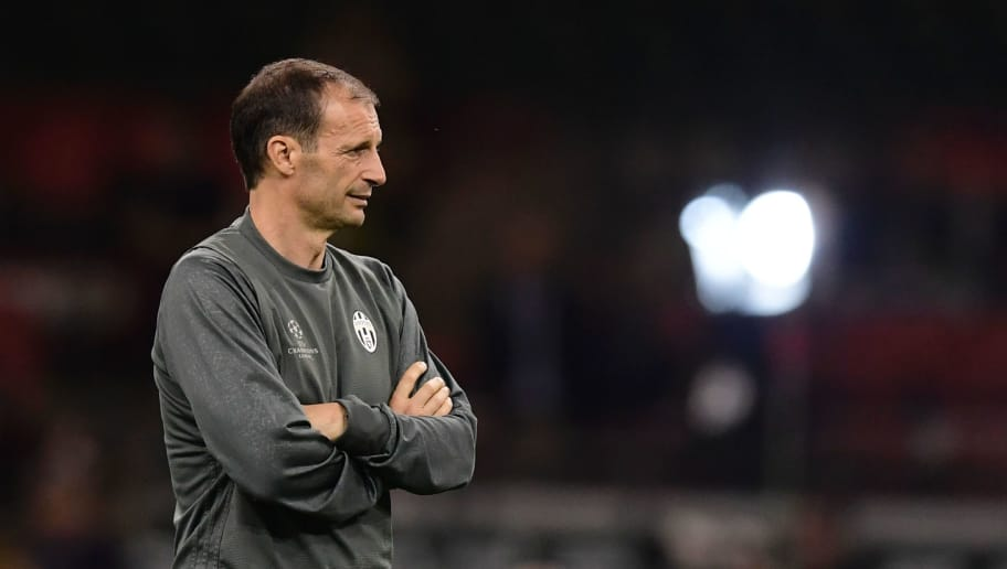 Juventus' manager Massimiliano Allegri attends a training session at The Principality Stadium in Cardiff, on June 2, 2017, on the eve of the UEFA Champions League final football match between Juventus and Real Madrid. / AFP PHOTO / JAVIER SORIANO        (Photo credit should read JAVIER SORIANO/AFP/Getty Images)