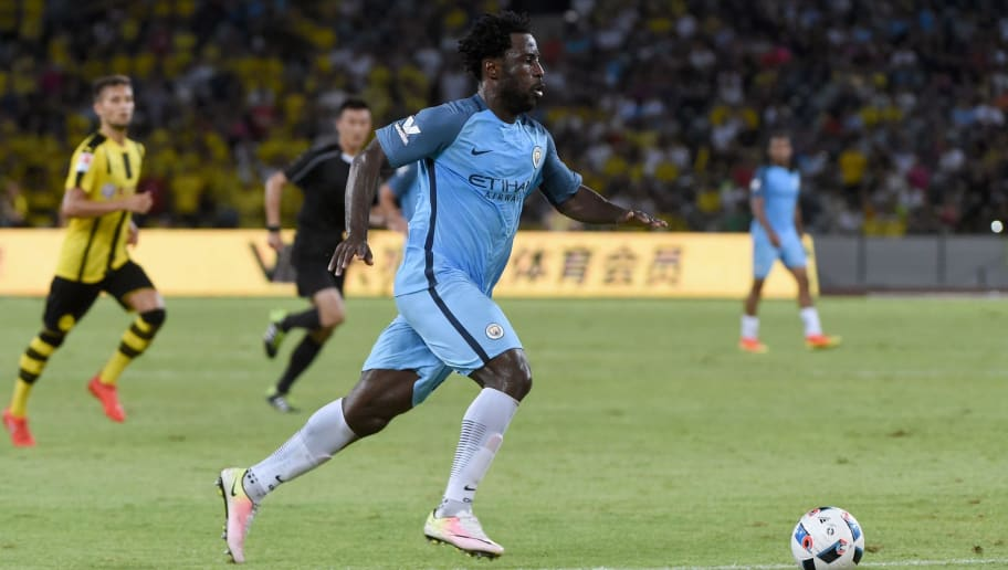 Manchester City's Wilfried Bony controls the ball during the 2016 International Champions Cup football match between Manchester City and Borussia Dortmund in Shenzhen, south China's Guangdong province on July 28, 2016. / AFP / WANG ZHAO        (Photo credit should read WANG ZHAO/AFP/Getty Images)