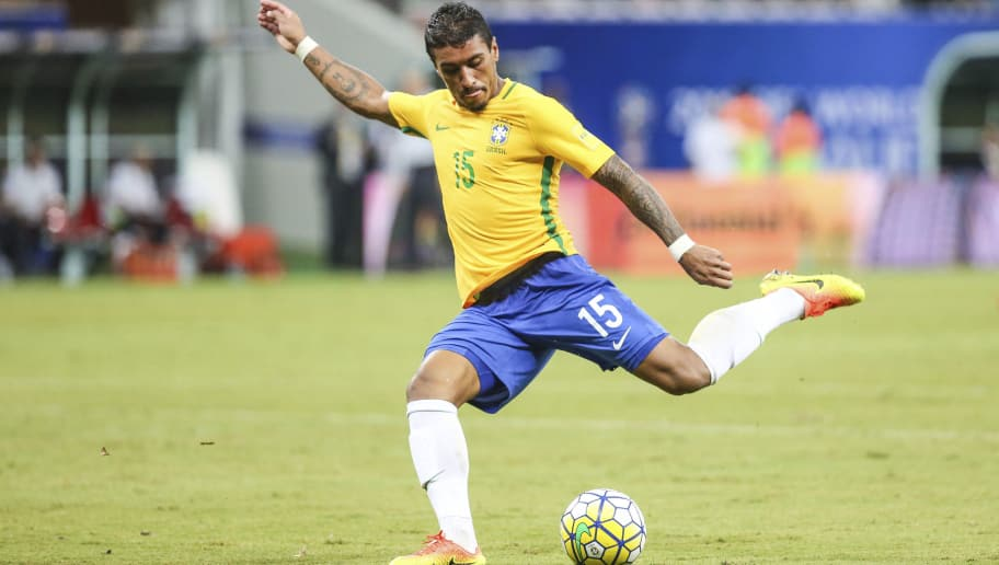 MANAOS, BRAZIL - SEPTEMBER 06:  Paulinho of Brazil takes a shot during a match between Brazil and Colombia as part of FIFA 2018 World Cup Qualifiers at Arena Amazonia Stadium on September 06, 2016 in Manaos, Brazil. (Photo by William Volcov/LatinContent/Getty Images)