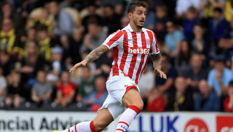 BURTON UPON TRENT, ENGLAND - JULY 16: Joselu Mato of Stoke City during the Pre Season Friendly match between Burton Albion and Stoke City at the Pirelli Stadium on July 16, 2016 in Burton upon Albion, England. (Photo by Clint Hughes/Getty Images)'n