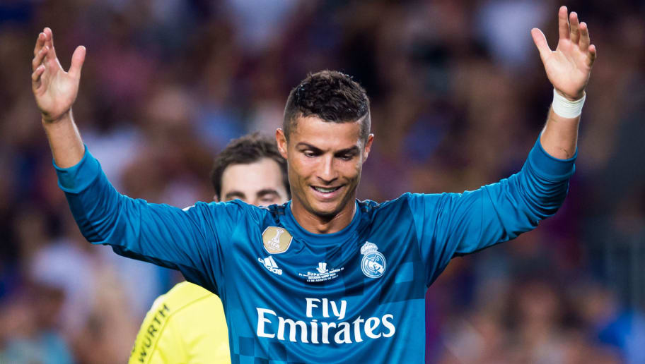 BARCELONA, SPAIN - AUGUST 13: Cristiano Ronaldo of Real Madrid CF reacts as he is shown a red card during the Supercopa de Espana Supercopa Final 1st Leg match between FC Barcelona and Real Madrid at Camp Nou on August 13, 2017 in Barcelona, Spain. (Photo by Alex Caparros/Getty Images)
