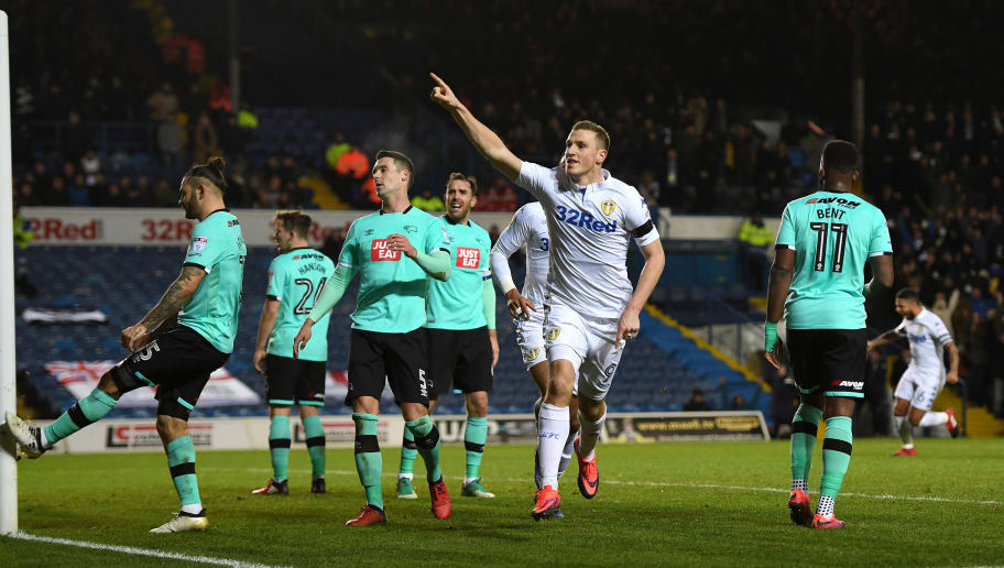 LEEDS, ENGLAND - JANUARY 13:  Chris Wood of Leeds celebrates scoring the opening goal during the Sky Bet Championship match between Leeds United and Derby County at Elland Road on January 13, 2017 in Leeds, England.  (Photo by Gareth Copley/Getty Images)