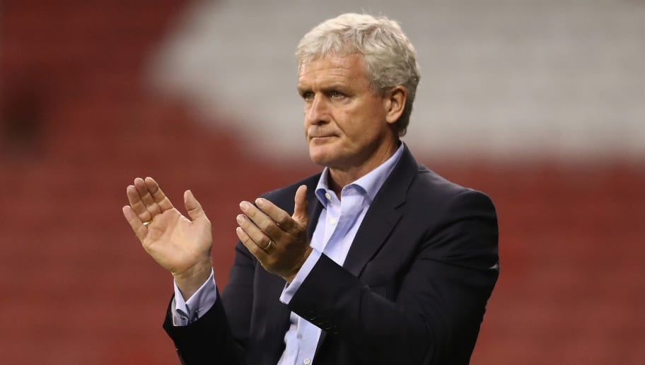 SHEFFIELD, ENGLAND - JULY 25:  Mark Hughes, the Stoke City manager looks on during the pre season friendly match between Sheffield United and Stoke City at Bramall Lane on July 25, 2017 in Sheffield, England.  (Photo by David Rogers/Getty Images)