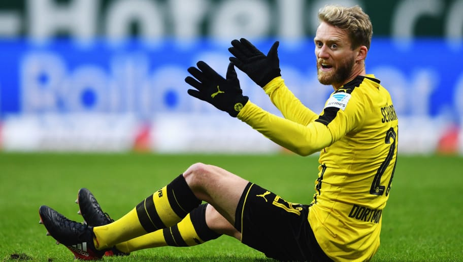 BREMEN, GERMANY - JANUARY 21:  André Schürrle of Dortmund reacts during the Bundesliga match between Werder Bremen and Borussia Dortmund at Weserstadion on January 21, 2017 in Bremen, Germany.  (Photo by Stuart Franklin/Bongarts/Getty Images)